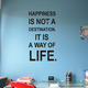 Wandspruch/Wandtattoo Spruch Happiness is not a destination. im Shabby Stil.