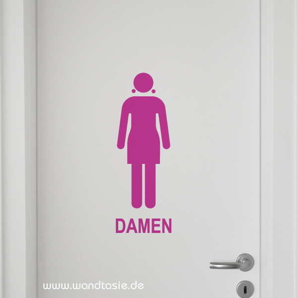 wandtattoos schilder piktogramme von wandtasie schild wc damen. Black Bedroom Furniture Sets. Home Design Ideas
