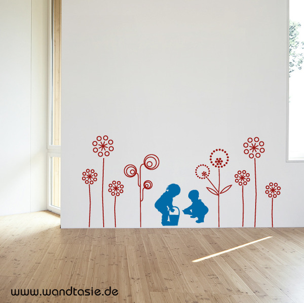 wandtattoos schilder piktogramme von wandtasie blumen wiese kinder. Black Bedroom Furniture Sets. Home Design Ideas