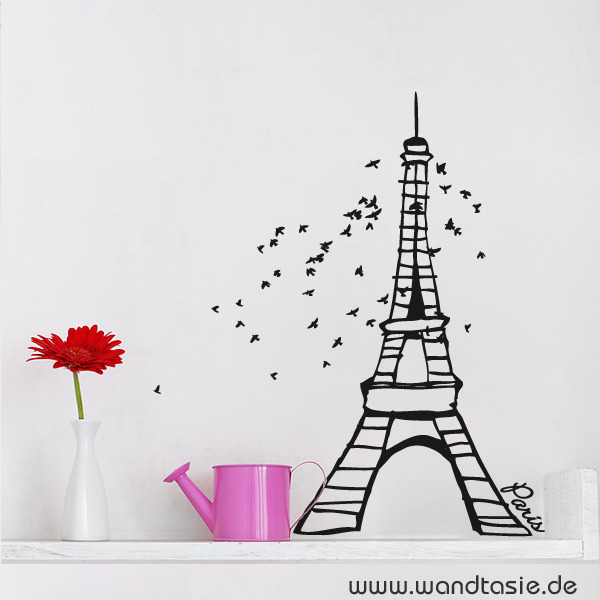 Wandtattoo mit Eifelturm in Paris.